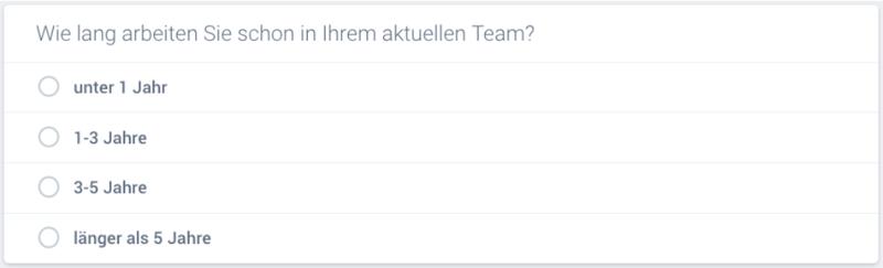So kann eine Single Choice Frage in einem Online-Fragebogen aussehen