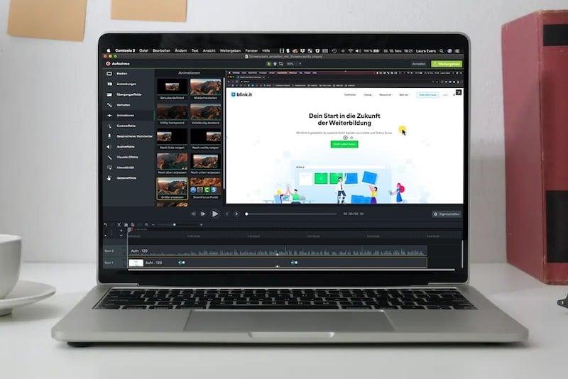 Camtasia bietet umfangreiche Funktionen für Screencasts und Videobearbeitung. // Quelle: blink.it, eigene Aufnahme