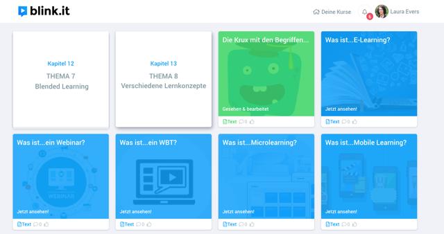 Screenshot blink.it: So kann E-Learning aussehen