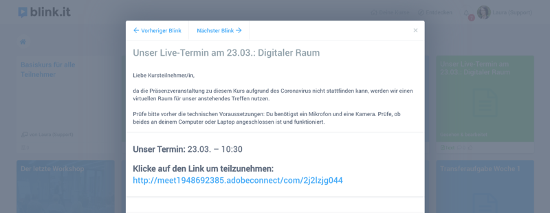 Beispiel: Digitaler Meetingraum im Online-Kurs. // Quelle: blink.it