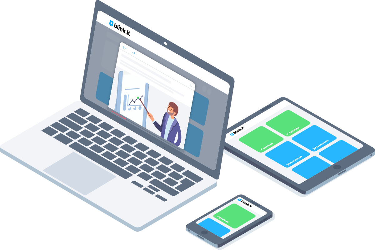 Grafik: Blended Learning funktioniert auf verschiedenen Geräten – ob Laptop, Tablet oder Smartphone