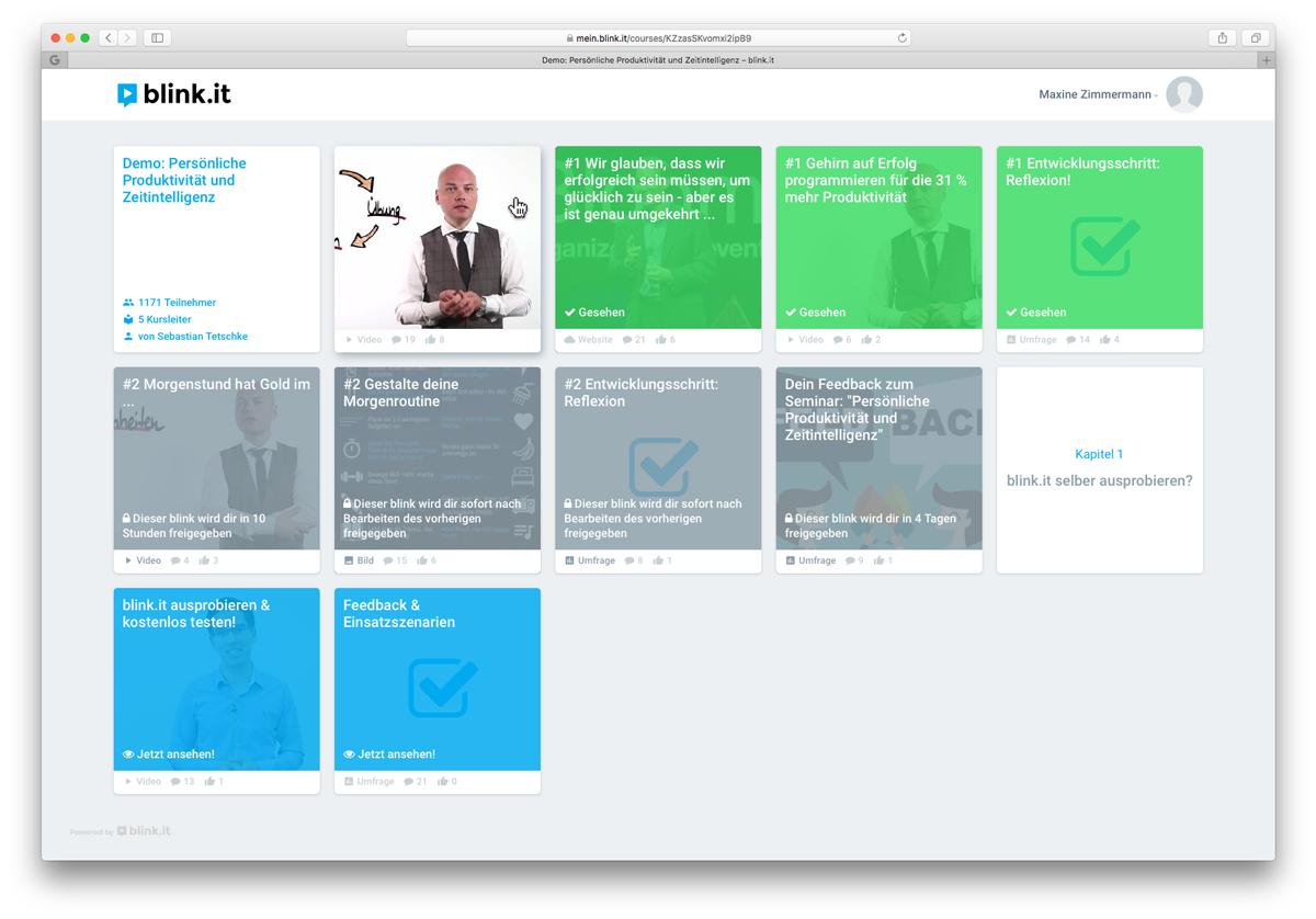 Screenshot: Ein beispielhafter Online-Kurs für Blended Learning