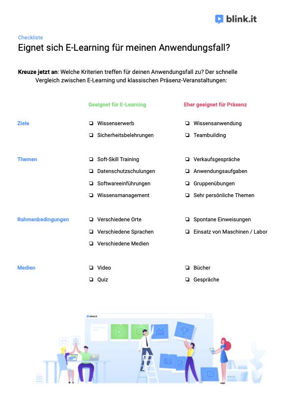 Checkliste von blink.it: Eignet sich E-Learning für meinen Anwendungsfall?
