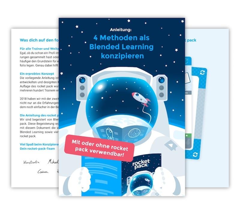 Cover: Die Anleitung zur Konzeption von 4 Methoden im Blended Learning – mit und ohne rocket pack verwendbar